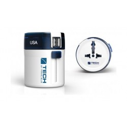 "Travel Blue ""Twist & Slide"" World Travel Adaptor + 2 USB"