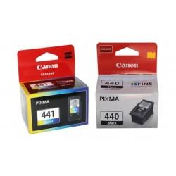 علبة حبر كانون إنكجيت بي جي - ٤٤٠ أي أم بي +  علبة حبر الطباعة من كانون - باقة ثلاثية الألوان