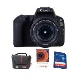 كاميرا كانون الرقمية إي أو إس ٢٠٠ دي بدقة ٢٤,٤ ميجابكسل واي - فاي + عدسة اي اف اس ١٨ - ٥٥ ملم  الاصدار الثالث + بطاقة الذاكرة سانديسك ١٦ جيجابايت + قسيمة تدريب على التصوير الفوتوغرافي من كانون + حقيبة الكاميرا