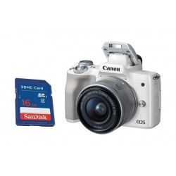 كاميرا كانون إي أو إس إم ٥٠ الرقمية بدقة ٢٤ ميجابكسل، قابلة لتبديل العدسة مع عدسة ١٥ - ٤٥ ملم مع محرك ستيبر لاستقرار الصورة - أبيض + بطاقة الذاكرة سانديسك إس دي من نوع إس إتش دي سي - ١٦ جيجابايت
