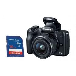 كاميرا كانون إي أو إس إم ٥٠ الرقمية بدقة ٢٤ ميجابكسل، قابلة لتبديل العدسة مع عدسة ١٥ - ٤٥ ملم مع محرك ستيبر لاستقرار الصورة + بطاقة الذاكرة سانديسك إس دي من نوع إس إتش دي سي - ١٦ جيجابايت