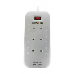 Datazone 6 Outlets Horizontal Power Strip with 2 USB Port - White
