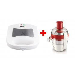 Philips 1.5L 400W Viva Collection Juicer (HR1832/45) - Red + Wansa 3 in 1 Sandwich Maker 700 Watts (TS-73030)