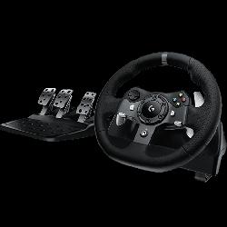 عجلة القيادة درايفينج فورس مع دواسات لجهاز إكس بوكس وان وجهاز الكمبيوتر من لوجيتيك - أسود - 941-000124