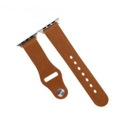 حزام جلدي لساعة أبل من بروميت - ٤٢ ملم - بني فاتح