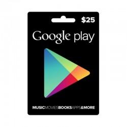 بطاقة جوجل بلاي الرقمية  - ٢٥ دولار (حساب أمريكي)