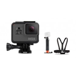 كاميرا الأكشن جو برو هيرو ٥ بشاشة لمس - دقة ١٢ ميجابكسل للصور / ٤كي للفيديو - واي فاي + حزام الصدر للكاميرا من جو برو + حامل يدوي يطفو على السطح