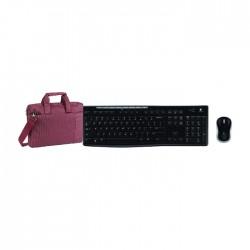 لوحة مفاتيح + ماوس باتصال لاسلكي من لوجيتيك (MK270) + حقيبة لابتوب ريفا  - ١٣.٣ بوصة - بنفسجي