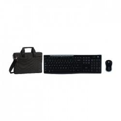لوحة مفاتيح + ماوس باتصال لاسلكي من لوجيتيك (MK270) + حقيبة لابتوب ريفا  - ١٣.٣ بوصة - أسود