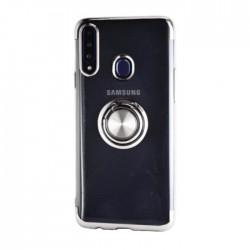 غطاء حماية هاتف سامسونج جالكسي A20S مع خاتم من إي كيو - فضي