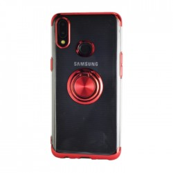 غطاء حماية هاتف سامسونج جالكسي A10S مع خاتم من إي كيو -  أحمر