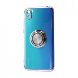 غطاء حماية هاتف هواوي 2019 Y5 مع خاتم من إي كيو -  فضي