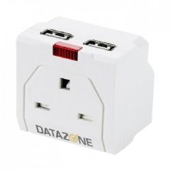 وصلة اشتراك كهربائية من داتا زون مقبس 1 و 2 يو اس بي أبيض