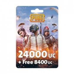 نقاط لعبة ببجي بقيمة (24000 + مجاني 8400 UC)