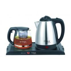 مجموعة من غلاية الماء الزجاجية وصانعة الشاي بقوة ١٦٠٠ واط من إمجوي باور – أسود (UEK-298)