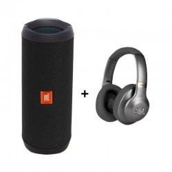 JBL Flip 4 Wireless Bluetooth Speaker Black + JBL V750 Earphone Gun Metal