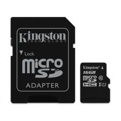 بطاقة الذاكرة كنجستون كانفاس مايكرو إس دي إتش سي فائقة السرعة بسعة ١٦ جيجابايت مع محول إس دي