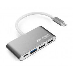 Promate Universal USB 3.1 Type-C Hub With Power Delivery - Grey