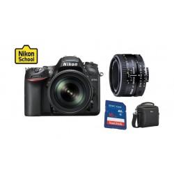 كاميرا نيكون (D-7200) دي إس إل آر ٣.٢ بوصة - ١٨ - ١٤٠ مم + عدسة الكاميرا أيه أف-أس نيكور ٥٠ مم أف/١.٨ + بطاقة الذاكرة + حقيبة كاميرا