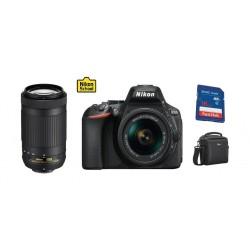 كاميرا نيكون الرقمية دي٥٦٠٠ - ٢٤,٢ ميجابكسل - واي فاي مع عدسة دي إكس ١٨-٥٥ ملم بفتحة إف / ٣,٥ - ٥,٦ جي في آر + عدسة تقريب تليفوتو من نيكون - بعد بؤري ٧٠-٣٠٠ ملم – فتحة إف/ ٤,٥-٦,٣ جي + بطاقة الذاكرة + حقيبة كاميرا