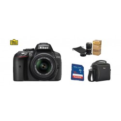 كاميرا دي-٥٣٠٠ الرقمية أس أل أر مع عدسة تقريب ١٨-٥٥ من نيكون + بطاقة الذاكرة ١٦ جيجابايت + حقيبة الكاميرا  + كوب نيكور