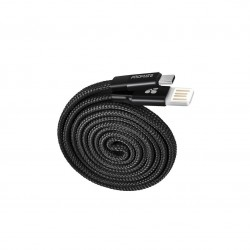 Promate Coiline-C Auto-Rolling Reversible 3.2Ft USB-A to Type-C Cable - Black