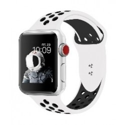 Promate Dual Toned Breathable Sporty 42mm Apple Watch Band - White/Black