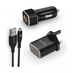 Promate Unigear-QC3 Ultra-Fast USB-CTM Charging Kit with Qualcomm Quick Charge 3.0 - Black
