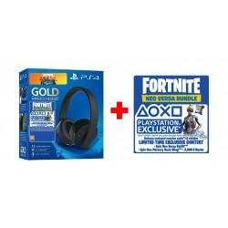 PS4 Gold Wireless Headset + Fortnite Voucher