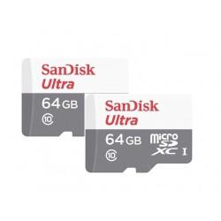 بطاقة الذاكرة سانديسك الترا يو إتش إس-أي ميكرو إس دي بسعة ٦٤ جيجا بايت وسرعة ٨٠ ميجا بايت بالثانية الفئة ١٠ (حزمة من ٢)
