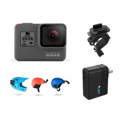 GoPro Hero 6 4K Ultra HD Camera - Black + GoPro Front And Side Helmet Mount + GoPro Mount For HandleBar/Seatpost/Pole + GoPro Supercharger For GoPro Action Camera