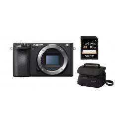 كاميرا سوني اي٦٥٠٠ بدون مرآة وبدقة ٢٤,٢ ميجابكسل + بطاقة الذاكرة إس دي سوني سلسلة إس إف - يو واي٣ بسعة ١٦ جيجابايت + حقيبة كاميرا هاندي كام من سوني