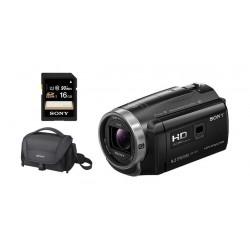 كاميرا الفيديو المحمولة كاملة الوضوح من سوني - ٣٢ جيجابايت وبروجيكتور مدمج + بطاقة الذاكرة إس دي ١٦ جيجابايت + حقيبة الكامير