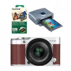 كاميرا فوجي فيلم اكس-ايه 3 مع عدسة اكس سي 15- 45 ملم -  بني + طابعة فاينبكس QS7 + أوراق طباعة 120 نسخة