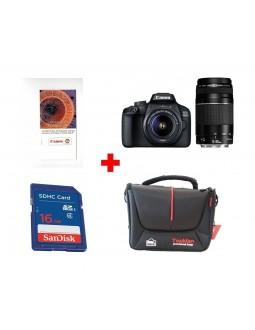 كاميرا كانون ريفلكس إي أو إس ٤٠٠٠ دي + عدسة ١٨ - ٥٥ ملم + عدسة ٧٥ - ٣٠٠ ملم + قسيمة تدريب على التصوير الفوتوغرافي من كانون + بطاقة الذاكرة سانديسك إس دي من نوع إس إتش دي سي - ١٦ جيجابايت + حقيبة الكاميرا توبمان - أسود
