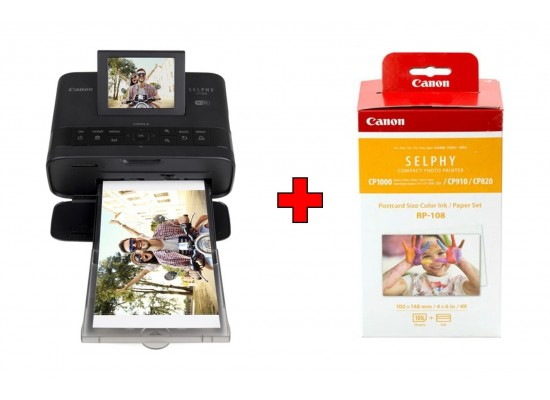 Canon SELPHY CP1300 Compact Photo Printer - Black + Canon RP-108 High Capacity Color Ink/Paper Set