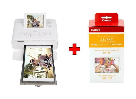 طابعة الصور اللاسلكية المدمجة سيلفي من كانون (CP1300) - أبيض + مجموعة ورق طباعة الصور وأحبار ملونة عالية السعة من كانون (RP-108)