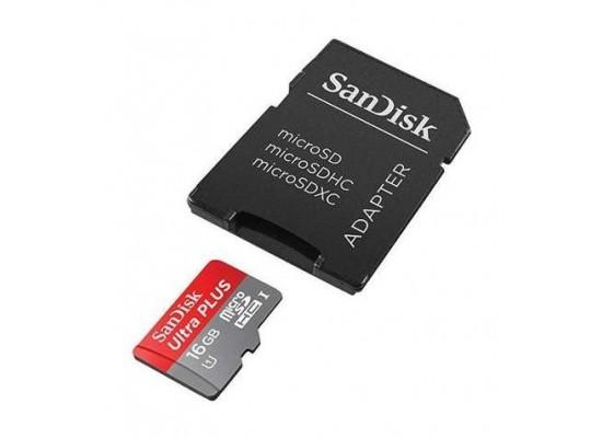 بطاقة الذاكرة ألترا اندرويد ميكرو إس دي مع محول بسعة ١٦ جيجا بايت من سانديسك - الفئة ١٠ - سرعة قراءة ٨٠ ميجابايت بالثانية (SDSQUNC-016G-GN6MA)