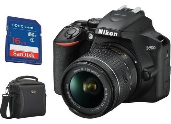 كاميرا نيكون دي ٣٥٠٠ الرقمية دي إس إل آر مع عدسة ١٨-٥٥ ملم - أسود + بطاقة الذاكرة سانديسك إس دي إتش سي - ١٦ جيجابايت + حقيبة الكاميرا الرقمية فورمات - ١٦٠ من لواربرو - أسود