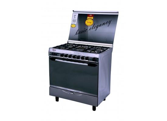 طباخ الغاز القائم بيسك - ٤ شعلات - ٦٠ x ٩٠ سم - ستانليس ستيل - (8905)