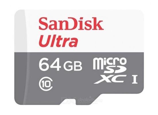 بطاقة الذاكرة سانديسك الترا يو إتش إس-أي ميكرو إس دي بسعة ٦٤ جيجا بايت وسرعة ٨٠ ميجا بايت بالثانية الفئة ١٠