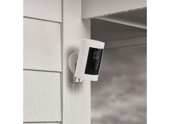 كاميرا مراقبة لاسلكية تعمل بالبطارية من ستيك أب رينج - أبيض