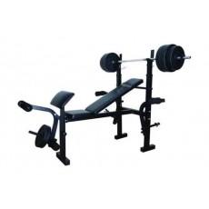 مقعد اللياقة البدنية مع لوحات الوزن ٥٠ كيلوغرام من ونسا - أسود