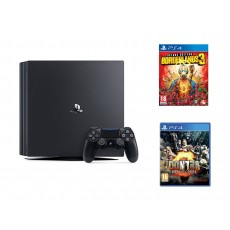Sony PS4 Pro 1TB Gaming Console – Black + Contra Rogue Corps - PlayStation 4 Game + Borderlands 3 Deluxe Edition: PlayStation 4 Game