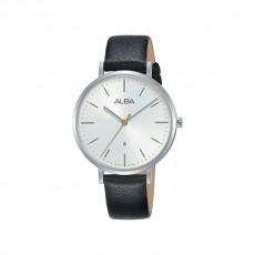 أسود -  (AH7T25X1) ساعة ألبا أنالوج جلد 34 مم نسائية