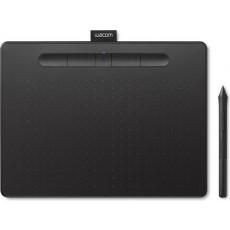 تابلت الرسم الإبداعي واكوم إنتوس بتقنية البلوتوث مع قلم رسم - (صغير) - أسود (CTL-6100WLK)