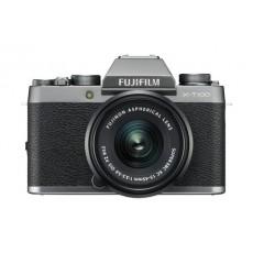 كاميرا فوجي فيلم الرقمية إكس - تي١٠٠ والقابلة لتبديل العدسة مع عدسة تقريب إكس سي ١٥ - ٤٥ ملم - فضي