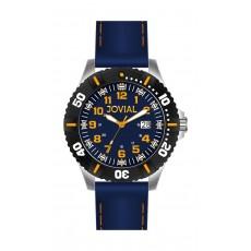 ساعة جوفيال الرياضية  للرجال بعرض تناظري – حزام جلد – أسود (GS2007-11)