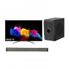 تلفزيون ونسا الذكي 65 بوصة QLED فائق الوضوح (WQD65I8850S) + مضخم صوت بقوة 30 واط من ونسا (LY-S218W) + ساوند بار بقوة 30 واط من ونسا (LY-S218W)