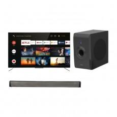 تلفزيون تي سي إل الذكي 50 بوصة فائق الوضوح كيو ال اي دي - (50C715) + ساوند بار بقوة 30 واط من ونسا (LY-S218W) + مضخم صوت بقوة 30 واط من ونسا (LY-S218W)